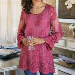 Soft Surroundings Jasper Rose Embroidered Lace Top